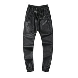 All'ingrosso-2016 Fashion PU Jogging in pelle Pantaloni uomo Faux Leather Street pantaloni sportivi uomini Hip Pop Jogging Pantalon Homme Plus Size 42, YA061 da