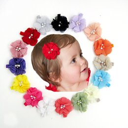 Wholesale Crystal Ribbon Hair Band Wholesale - Christmas Kids Girls Fabric Flowers Pearl Hair Bands Crystal Handmade Hair Clips For Girls Hair Accessories 16 Color 16pcs lot