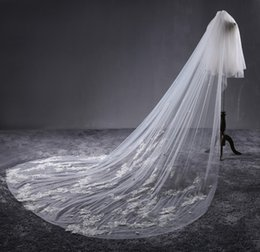 Wholesale Lace Pearl Meter - Classy 2 Layers 3 Meters Long Bridal Veil With Lace Appliques Cathedral Length Wedding Veils With Comb For Bridal Wedding Accessories
