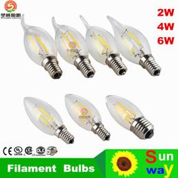Wholesale Chandeliers Edison Bulbs - LED Candle Lamp C35 C35T COB filament bulb chandelier 2700K 2W 4W 6W E14 E12 base 110V 220V AC 110 LM W Approval