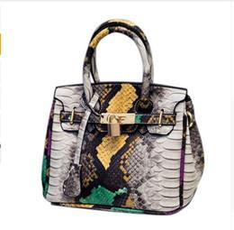 Wholesale Phone Blocks - Women Bags Serpentine Color Blocking Women Leather Handbags Bolsos Mujer Grandes Mini Shoulder Bags Vintage Snakes 2