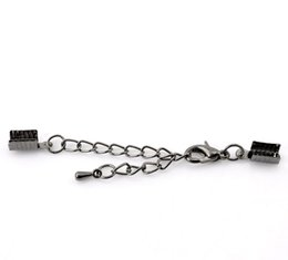 Wholesale Crimp Clasps - Hot 2x20PCs Gunmetal Lobster Clasp Tail Extender Chain W Crimp End Caps 7x5mm 26x7mm (Over $129 Free Express)