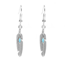 Wholesale Vintage Enamel Charms - Vintage Silver Gold Plated Ethnic Feather Dangle Earrings Bohemian Style Pierced Enamel For Women Christmas Day Gift 8