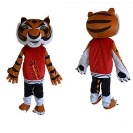 Wholesale Tiger Mascots Costumes - Kung fu tiger Cartoon Mascot Costume Adult Size Fancy Dress Valentine's day EPE head carnival costume party free shipping