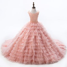 Wholesale Peach Baby Dress - 2017 Baby Peach Pageant Dresses for Girls Flower Girl Dresses Sleeveless Ball Gowns Girls Communion Dress