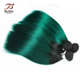 Wholesale Remy Hair Pieces - Colored Dark Root Green Hair Ombre Indian Virgin Hair Weave Silky Straight 3 Bundles 12 14 16 inch Remy Human Hair Extensions