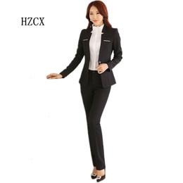 Wholesale Women Office Suits Designs - Wholesale-HZCX 2016 New Formal Ladies Pant Suits for Women Business Suits Work Wear Blazer Sets Female Office Uniform Designs Plus Size