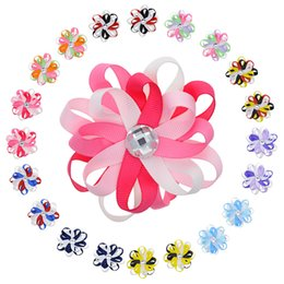 """Wholesale Puff Flower Clip - 20pcs 3 .2 """"Kids Multi -Color Flowers Lined Hair Clips For Teens Girls Loopy Puff Ribbon Hair Bow With Pearl Flower Hair Barrette"""