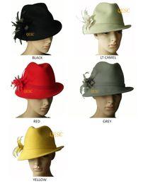 Chapéu de feltro amarelo on-line-Chapéu de feltro de lã chapéu de inverno com flor de penas, um lado para cima borda, melhor escolha para winter.black, amarelo, vinho, cinza, vermelho.