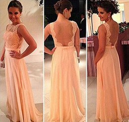 Wholesale Bridesmaid Dressess - Attractive New Lace Appliques Backless Floor-Length Wedding Party Dress Chiffon Pretty Nude Pink Long Evening Bridesmaid Dressess