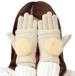 Wholesale Winter Warm Knit Gloves White - Detachable Dual Layer Winter Ski Gloves 2016 Womens Warm Pompoms Fur Ball Fingerless Glove Touchscreen Mittens Knit Wool Gloves