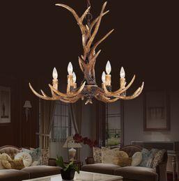 Wholesale Bakelite Resin - Europe Country 6 Head Candle Antler Chandelier American Retro Resin Deer Horn Lamps Home Decoration Lighting E14 110-240V