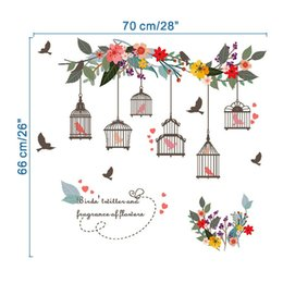 Wholesale Living Wall Flower - Romantic Hot Flower Vines Bird Cage TV Wall Decoration Window Wall Paintings Removable Wall Stickers For Livingroom Decoration