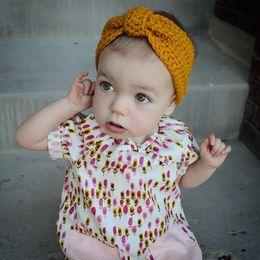 Wholesale Gray Crochet Headband For Baby - Baby Girl Knit Crochet Turban Headband Warm Headbands Hair Accessories For Newborns Hair Headbands Hairband Newborn Free Shipping