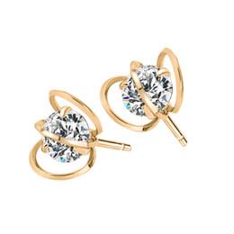 Wholesale 18k Gold Filigree Earrings - Earrings For Women 18K Gold Plated Hollow Out Crystal Geometric Earrings Fashion Korean Luxury Filigree Elegant Zircon Geometric Earrings