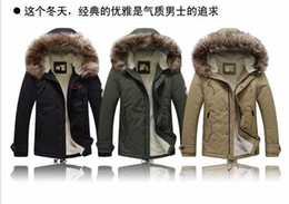 Wholesale Cheap Down Jackets Men - cheap new arrival men's thick warm winter down coat fur collar army green men parka big yards long cotton coat jacket parka