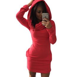 Túnica con capucha online-Al por mayor-2016 nuevas mujeres de manga larga de invierno bolsillos Bodycon Sweater Túnica Mini vestido Jumper Tops vestido con capucha larga Vestidos de festa Rojo