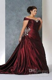 Wholesale Gold Grown Dress - Hot Sell Red Plus Size Wedding Dresses A-line Off-shoulder Pleats Bridal Wedding Grown Custom Made