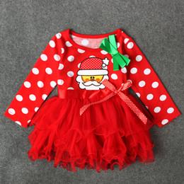 648bdad18 Vestido de manga larga rojo de algodón de Navidad Fiesta de la niña Vestidos  de fiesta de Navidad Vestidos para niñas bebés