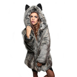 Wholesale Ear Fur Coats - Explosions Fox hair ladies ears cartoon hooded collar faux fur coat plush coat Faux Fur Hood Animal Hat Ear women outwear