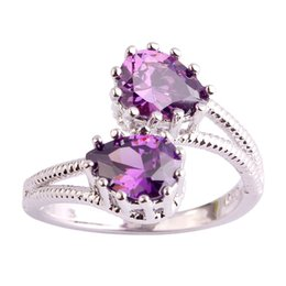 Wholesale Amethyst Ring 11 - Fashion Jewelry Pear Cut Gems Wholesale Women Free Shipping 18K White Gold Plated Silver Ring Size 6 7 8 9 10 11 Amethyst New