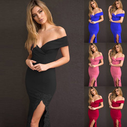 Wholesale Red Rags - Sexy Dress V-Neck Glad Rags Strapless Package hip Party Ball Clothes Solid color Casual European style Night skirt Faddish