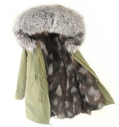 Wholesale Green Parkas For Men - Thick Warm Real Fox Fur Lining for male or female furs Long parkas large raccoon fur collar Man Green jacket