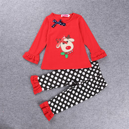 Wholesale Deer Bow Shirt - Girl Christmas winter outfit 2016 Girl Cute deer with bow shirt + ruffle pants 2pcs set children black white polka dot pants Size80-120