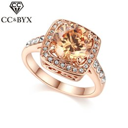 Wholesale Yellow Diamond Engagement Ring Wholesale - CC Jewelry Midi Rings For Women Fashion Rose Gold Luxury Yellow Diamond Stone Wedding Ring Bridal Engagement Bijoux CC1023