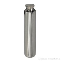 Wholesale Polished Hip Flask - 2 OZ Stainless Steel Hip Flask Short Mirror Polished Flat Bottom Tube Like Cigar with Funnel Simple Beauty