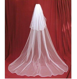 Wholesale Two Tier Lace Cathedral Veil - 2016 Free Shipping Veil In Bride Veils Charming Ivory white 2 Tier Cathedral Wedding Veil With Comb Lace Purfles Custom 3 Meters