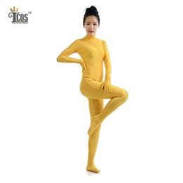 Wholesale Black Full Unitard - Wholesale-The Crazy Ones Zentai Yellow Suit Women Cosplay Dancewear Turtleneck Unitard Headless Full Body Tights Second Skin Costumes