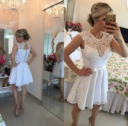 Wholesale full cocktail - 2018 New Little White Homecoming Dresses Sheer Crew Neck Pearls Full Lace Keyhole Back Mini Short Prom Dresses with Bow Cheap Cocktail Dress