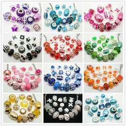 Wholesale Color Metal Spikes - 100pcs Lot mixed Color Fashion Charms Beads for Jewelry Making Loose Big Hole Charms DIY Beads for European Bracelet Wholesale in Bulk