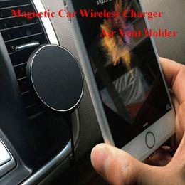 docas de carro Desconto 360 Graus Car QI Sem Fio Carregador Titular Ar Ventilação Magnética Mount Dock para Samsung Smartphones Car Transmissor de Carregamento Sem Fio Clipe titular