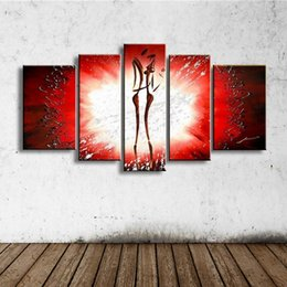 Картины акриловые онлайн-Ручная Роспись Современная Абстрактная Живопись Маслом Холст Танцор Плакат Граффити Красный Акриловые Картины Home Decor Art 5 Панельные Фотографии
