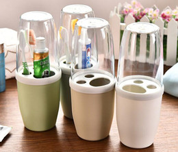 Wholesale Travel Toothbrush Cup - Hot new Korean Bathroom set toothbrush holder wash cup with lid travel bathroom accessories Bathroom Suite Storage Box