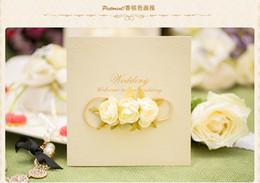 Wholesale Invitation Party Handmade - Laser Cut Flora Wedding Invitation Cards Personalized Champagne Wedding Party Invitation Cards With Handmade Flower 2016