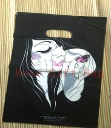 Wholesale Plastic Carrier Bags 25x35cm - New Fashion 50pcs lot Lady Print Black Free Shipping Plastic Useful Boutique Gift Carrier Shopping Bags 25x35cm