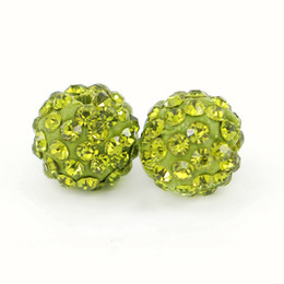 Wholesale 12mm Crystal Disco Ball - Top Quality Pave Disco Crystal Ball Beads Clay Rhinestone Shamballa Ball Beads Olivine Size 6mm, 8mm,10mm,12mm 100pcs bag