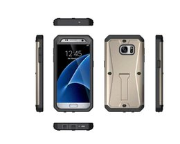 Wholesale Heavy Bag Cover - For Samsung Galaxy S7 G930 G9300 Armor TPU PC Hard Case Hybrid Tanks 3 in 1 Stand ShockProof Heavy Duty Holder Durable Bag Skin Cover Luxury
