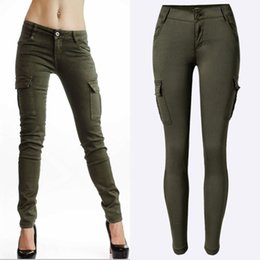 Wholesale Sexy Low Rise Skinny Jeans - Fashion Woman Climber Army Green Sexy Low Rise Jeans Pants Ladies Skinny Jean Slim Femme Pantalones Mujer More Pockets EG6312