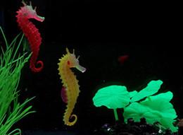 Wholesale Artificial Aquarium Light - Artificial Night Light Sea Horse Decoration Aquarium Fish Tank Decorations ocean Hippocampa Silicon 20pcs lot Drop Shipping Random Color
