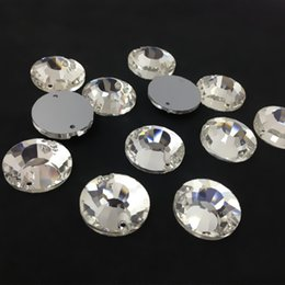 Wholesale Round Crystal Sew Stones - Wholesale Xilion Flat Top Sew On Stones Crystal Clear Color Flatback 2holes 8,10,12,14,16,18mm Round Sewing Glass Crystal Beads
