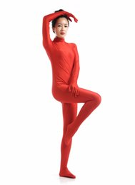 Wholesale Womens Dance Suits - Wholesale-Red Lycra Spandex Suits Womens Long Sleeve Dancewear Turtleneck Unitard Dance Zentai Catsuits Second Skin Tights Full Bodysuits