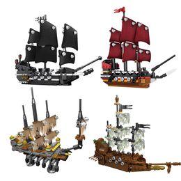 Wholesale Toy Black Pearl Ship - 4pcs lot Lepin 03058 Movie Series Pirate Ship 4 in 1 Black Pearl Queen Anne's Reveage Ship Model Building Blocks Bricks Toys 1117pcs