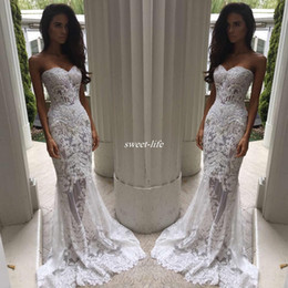 Wholesale Embroidery Pearls Mermaid Wedding Gown - Romantic Boho White Mermaid Wedding Dresses Heavy Embellishment Bridal Dress Full Lace Applique Backless Illusion Bodice Wedding Gowns 2017