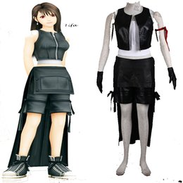 Wholesale Final Cartoon - Cartoon Cosplay Handemade Final Fantasy Tifa.Lockhart First Generation Cosplay Costume Halloween Gloves Custom Made Black Full Set PU