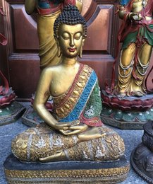 Wholesale Asian Statues - Asian Chinese Vintage Collection Old Copper Buddha Statue Coloured Drawing