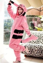 Wholesale Ladies Animal Print Costume - Wholesale- New Adults Costume Onesie Ladies Pink Pikachu Onesie Ladies Mens Cute Anime pajamas for Unisex